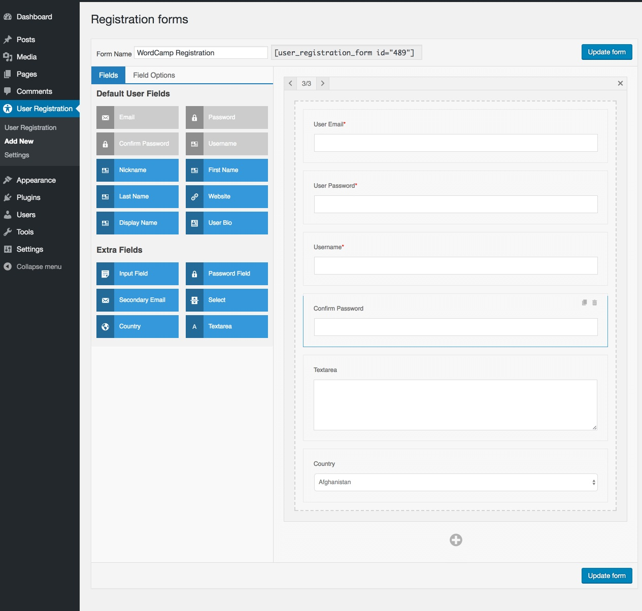 User Registration Wordpress Plugin UI