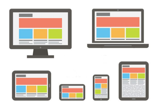 responsive web design. Flat style vector illustration